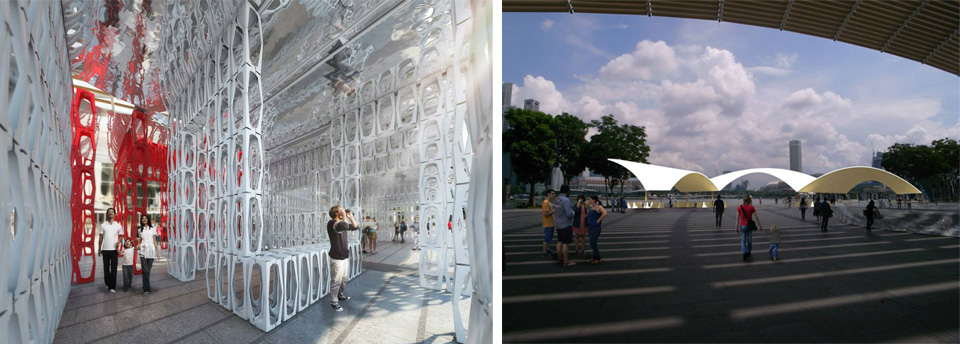 "his year's Archifest pavilion will be designed by HCF and Associates as well as Agfacadesign and the NUS, whose respective concepts ""Fugue 1357″ (left) and ""Cloud Arch"" (right) were picked as joint winners for this year's design competition. 