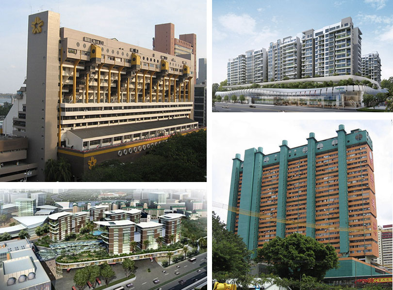 (Clockwise, left to right) Golden Mile Complex (1973), rendering of Bedok Mall (completed 2013), People's Park Complex (1973), and rendering of Northpoint City (expected 2018). | WIKIMEDIA/SENGKANG