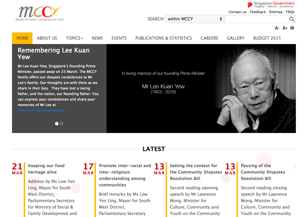 The Ministry of Culture, Community and Youth did not grey or blacken their digital presence, but did refer to the passing of Lee Kuan Yew.