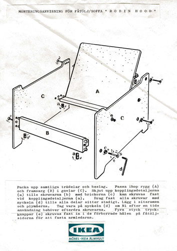 This Instruction Manual From The 1960s Uses Exploded View To Demonstrate How Assemble Ikea S Robin Armchair Has Since Been Replaced By A