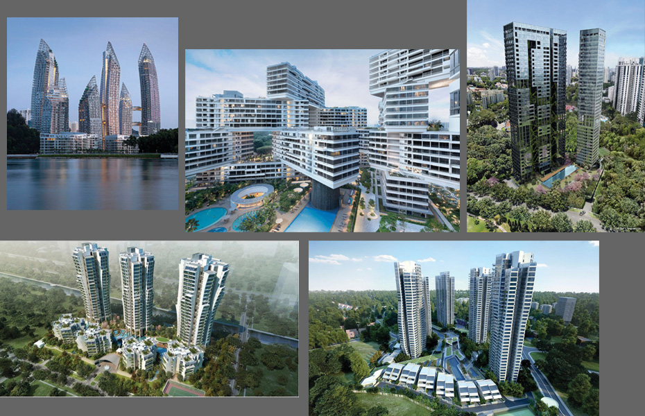 Reflections at Keppel Bay (2013) by Daniel Libeskind, The Interlace (2014) by OMA, artist's impressions of Jean Nouvel's Nouvel 18 (2014) and Le Nouvel Ardmore (2014), rendering of Toyo Ito's The Crest (2018) condominiums, and rendering of Zaha Hadid's D'Leedon (2015).