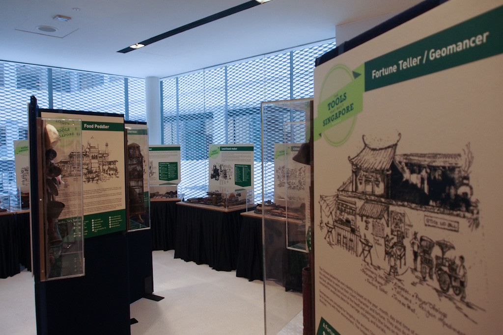 "The traveling exhibition ""Tools That Built Singapore"" kickstarted at the National Design Centre and has traveled to various locations around the city."