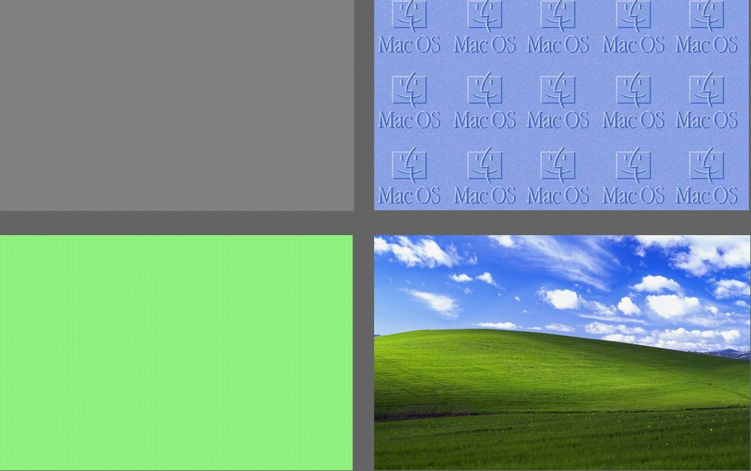 Changing screens (Clockwise from left to right): Apple's Mac OS 1 (1984), Apple's Mac OS 8 (1997), Microsoft Windows (1985), and Microsoft Windows XP (2001).